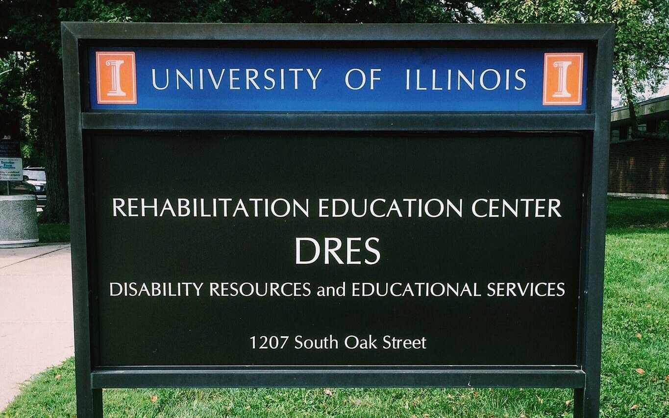 Image of sign of Rehabilitation Education Center DRES Disability Resources and Educational Services 1207 South Oak Street