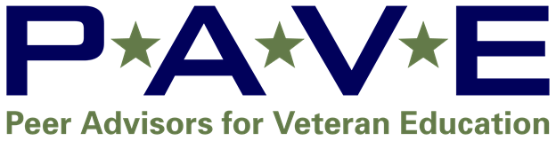 Peer Advisor for Veteran Education logo with blue font for letters PAVE and green stars between each letter.