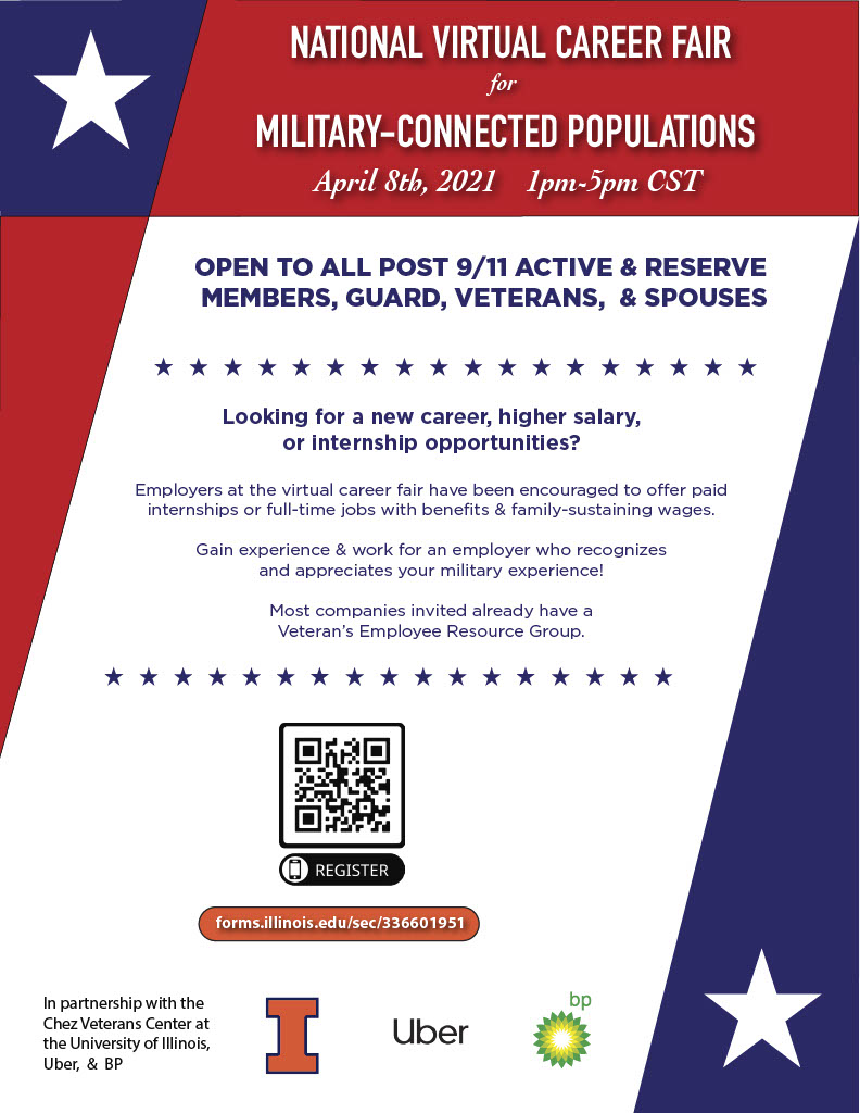 Flyer for National Virtual Career Fair for Military-connected Populations